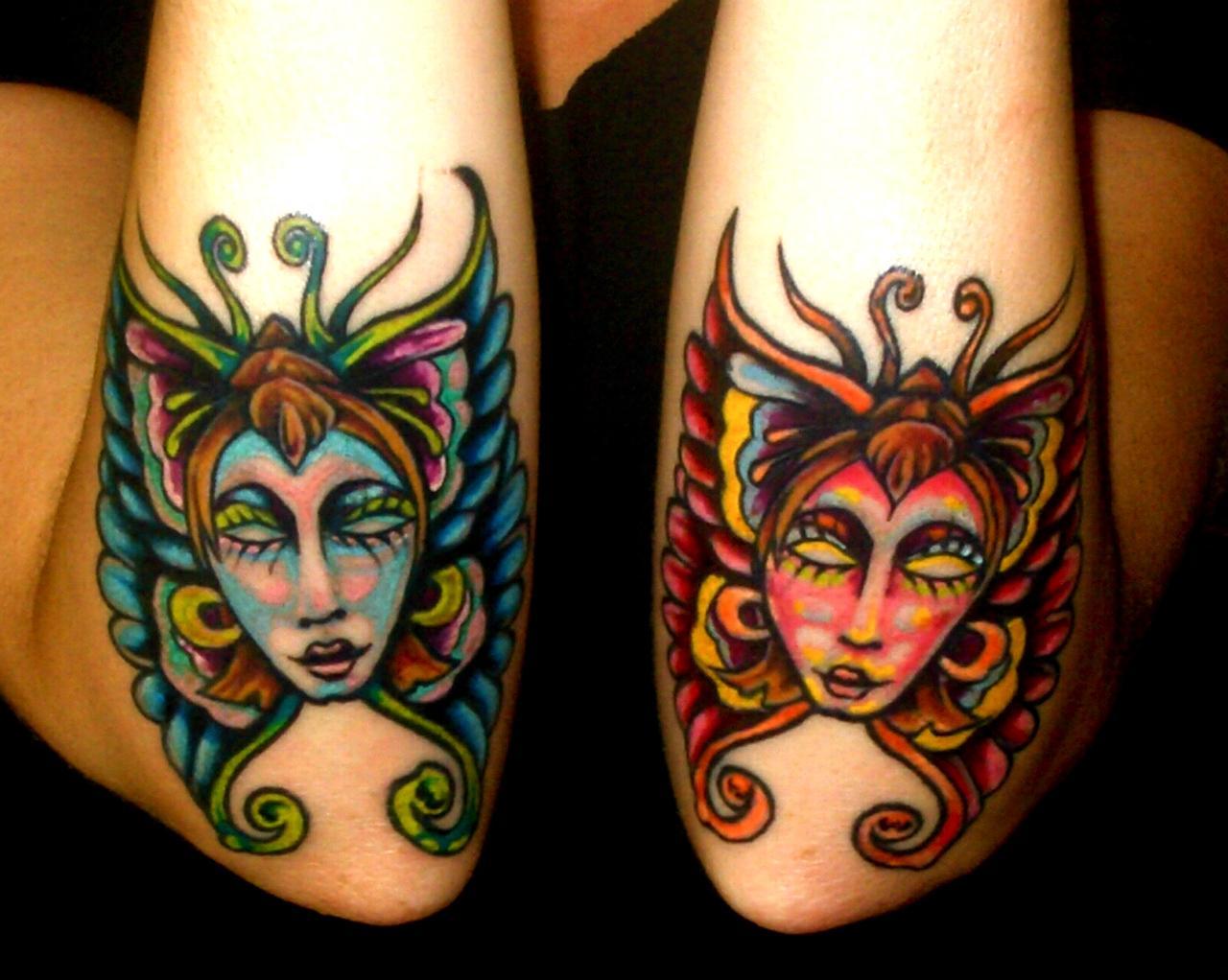Colorful Fairy Mask Tattoo