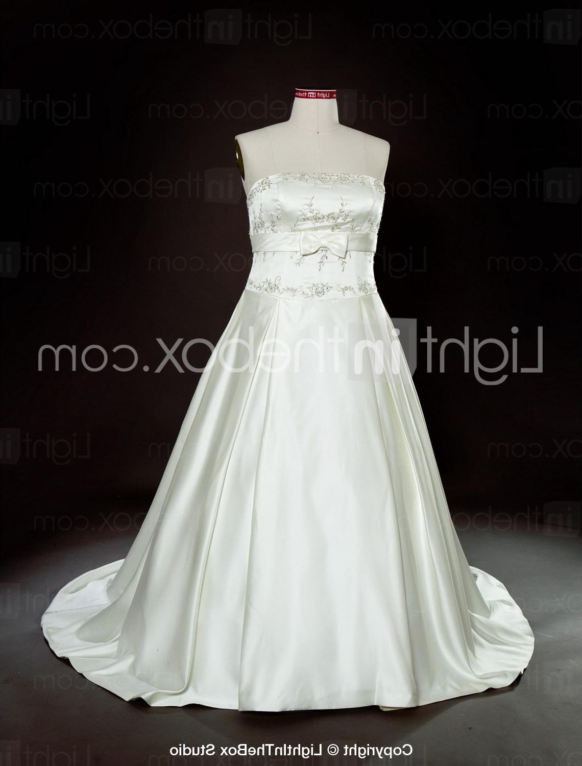 A-line Strapless Court Train Satin Plus Size Wedding Dress - US  199.99