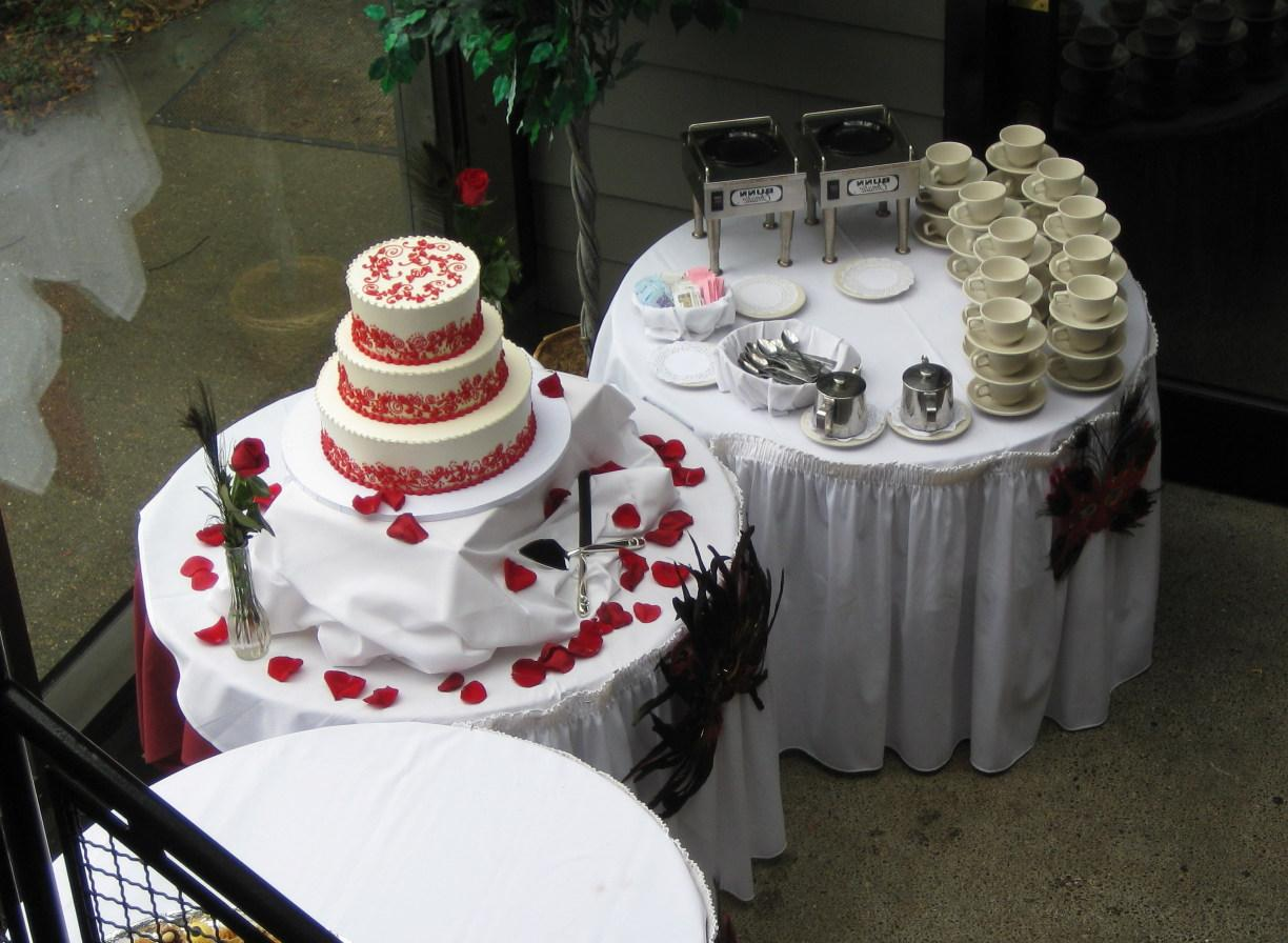 Overhead view of the coffee service and our wedding cake.