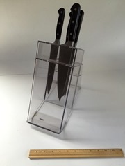 Lucite knife block with knives back