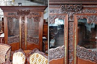 Антикварный книжный шкаф 19-й век. Две стеклянные, дверки. Красивые резной декор. 190/70/230 см. 4400 евро.