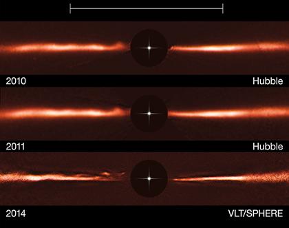 ondas deslocando rapidamente no disco de poeira da estrela AU Microscopii