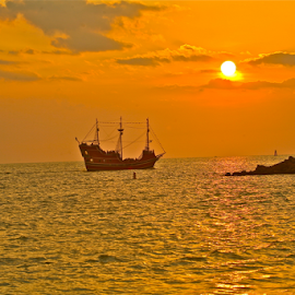{ Pirate Ship At Sunset ~ Along Sand Key park ~ 2 July }  by Jeffrey Lee - Transportation Boats ( { pirate ship at sunset ~ along sand key park ~ 2 july } )