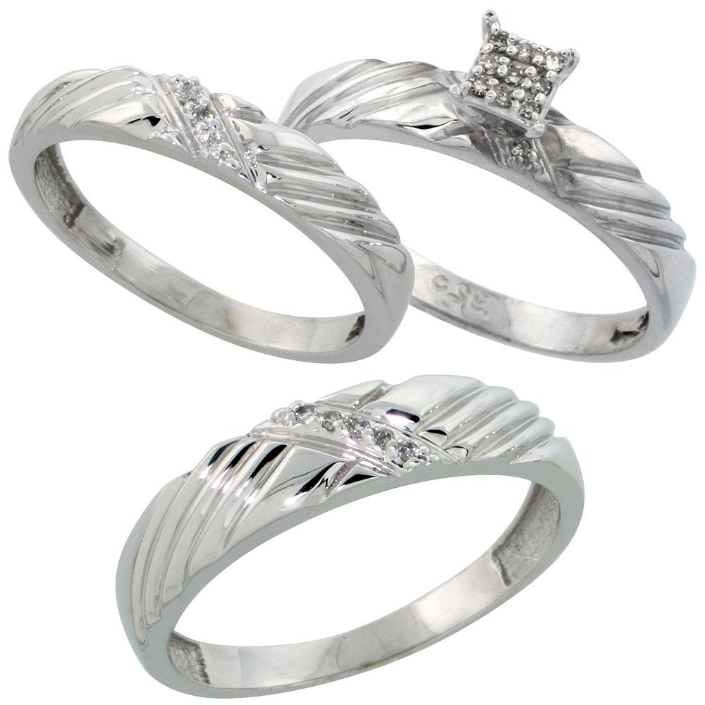 Sterling Silver 3-Piece Trio His  5mm  & Hers  3.5mm  See details