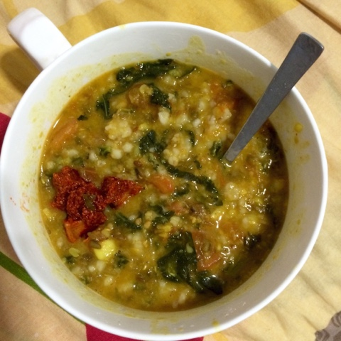 Kale Dal with Split Mung Beans