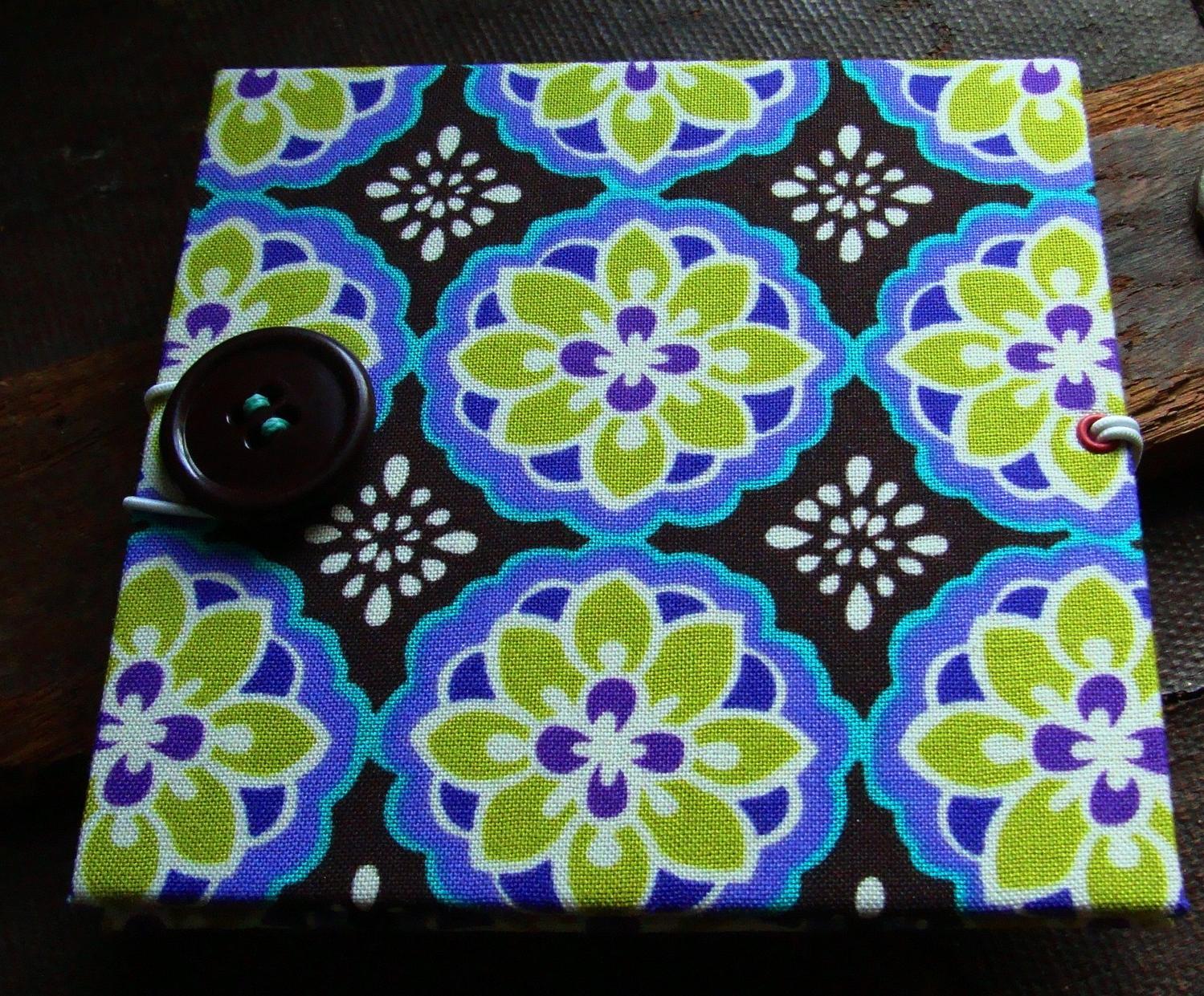 Teal & Lime Lotus Flowers mini accordion album  brag book  scrap book  made