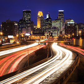 Minneapolis by Gannon McGhee - City,  Street & Park  Skylines ( minnesota, traffic, highway, blue, minneapolis, buildings, night, hour )