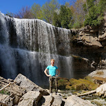 matt at the base of Webster's Falls in Ontario, Canada in Dundas, Ontario, Canada