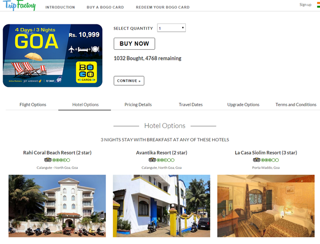 Bogo Card - Goa holiday