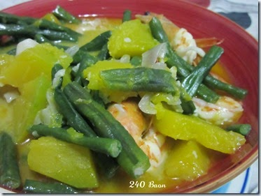 sauteed shrimps, snake beans and squash