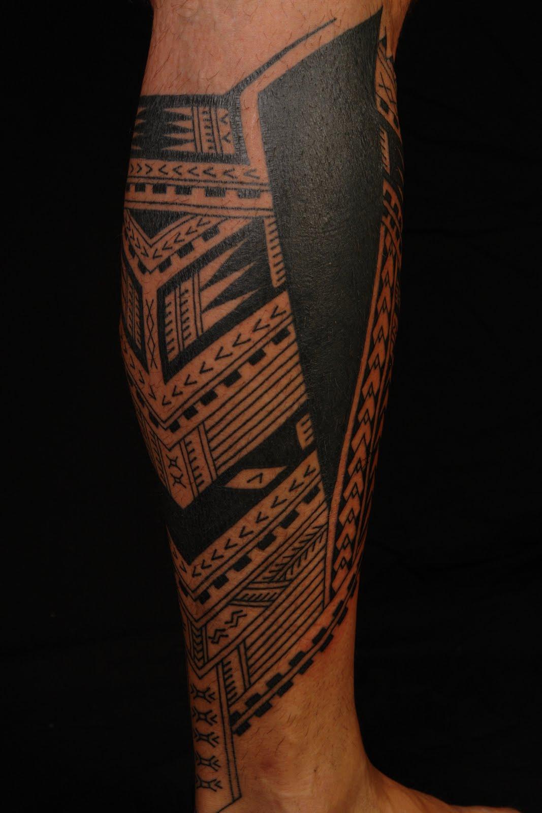 Samoan Polynesian Calf Tattoo