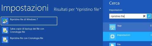 Windows 8 Ricerca Ripristino file di Windows 7