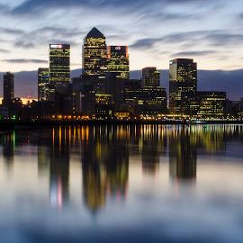Canary Wharf Dawn by Adam Knauz - City,  Street & Park  Skylines ( office, uk, skyline, skyscrapers, canary wharf, wapping, cityscape, east london, england, dawn, thames, london, sunrise )