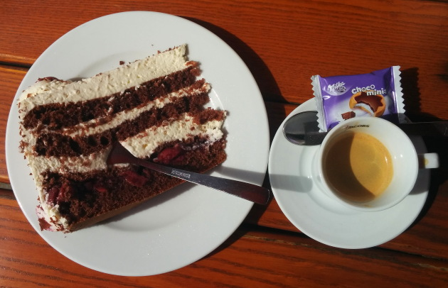 The famous black forest cherry gateau cake