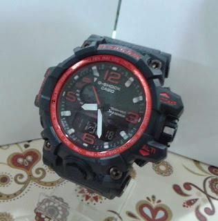jam tangan G Shock dual time hitam list Merah