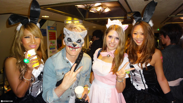 gorgeous Japanese girls at the Halloween Boat Cruise Party in Tokyo in Tokyo, Tokyo, Japan