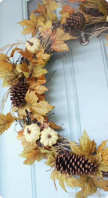 autumn wreath leaves pinecones white pumpkins