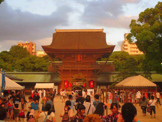 The Hakozaki shrine at sunset, during the Nagoshi-sai (summer passage rite)