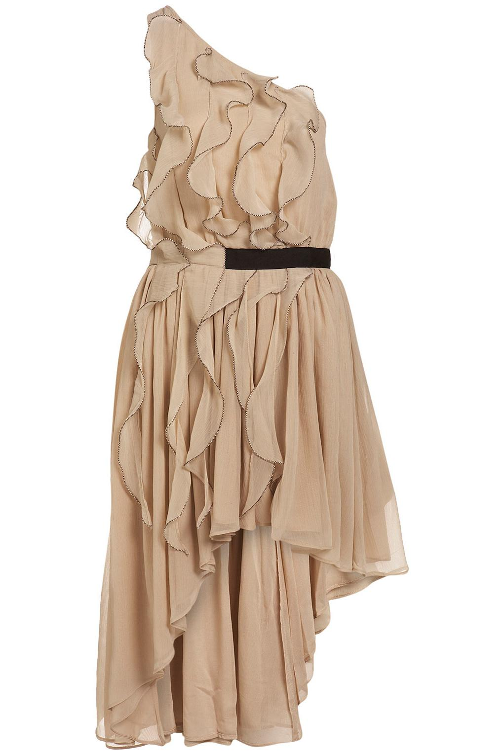 Ruffle Assymetric Dress: