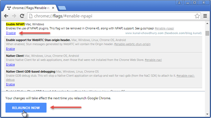 Relaunch Google Chrome for the changes to take effect (www.kunal-chowdhury.com)