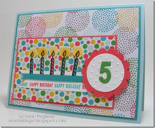LeAnne Pugliese WeeInklings Cassidy's Fifth Birthday Card