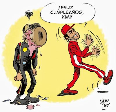 Фернандо Алонсо поздравляет Кими Райкконена с днем рожденья - комикс Cirebox