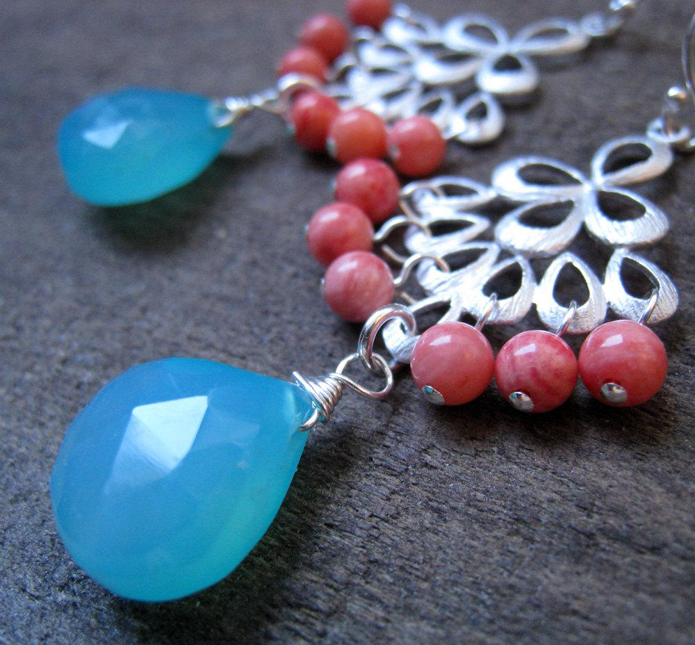 Coral and Aqua blue chalcedony silver Chandelier earrings, gold optional,