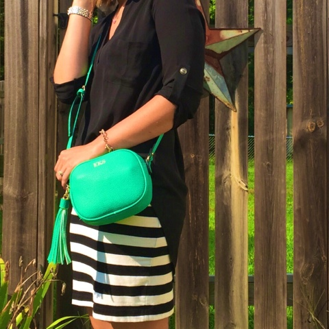 pop of color, how to style a tunic, gold heels, monogram