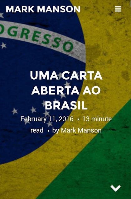MARK MANSON UMA CARTA ABERTA AO BRASIL .