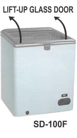 Mesin Pemajang Es Cream Kaca Datar (Lift-Up Glass Door Freezer) Kapasitas 100 Liter : SD-100F