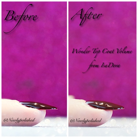IsaDora Wonder Top Coat Volume Super Shine Before After