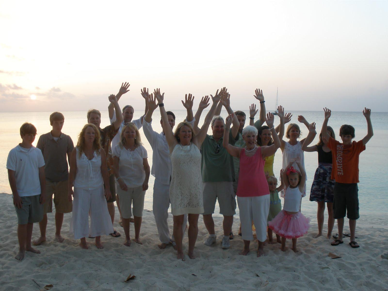 of the family who came along to be a part of their Grand Cayman wedding.