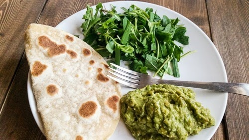 roti, greens from garden, guac