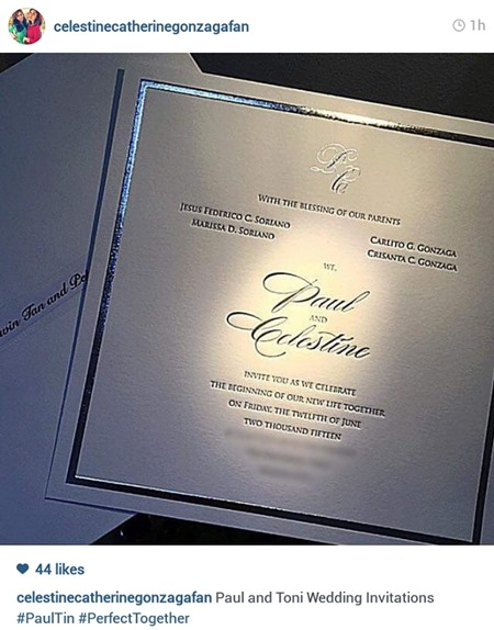 Paul Soriano-Toni Gonzaga wedding invitation