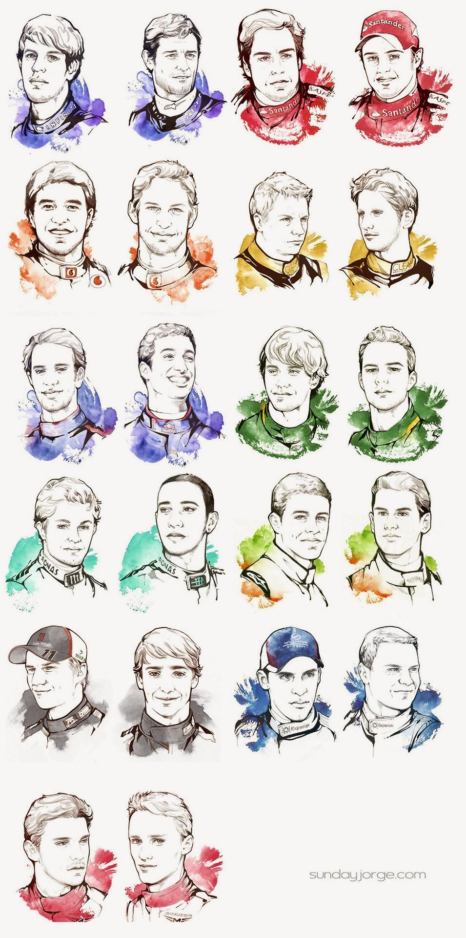 портреты пилотов для пит-лейна Гран-при Кореи 2013 нарисованные Sunday Jorge