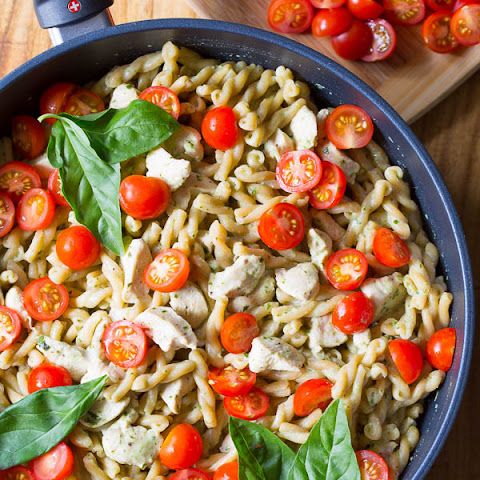 One Pot Chicken Pasta with Light Basil Cream Sauce