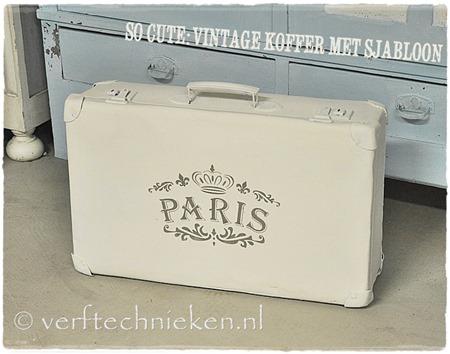 Vintage koffer met sjabloon