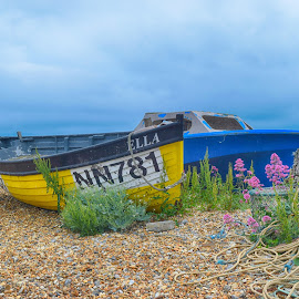 boats on the beach by Fiona Etkin - Transportation Boats ( colourful, boats, pebbles, ropes, transportation, seaside, beach, nautical )