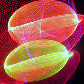 Two eggs in a hanky by Jim Barton - Abstract Patterns ( eggs, laser light, red, light design, colorful, hanky, laser design, laser, yellow, laser light show, light, two eggs in a hanky, science )
