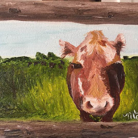 Tanner's Brown Cow by Melanie Levin - Painting All Painting