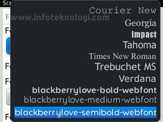 cara menambah font di blackberry