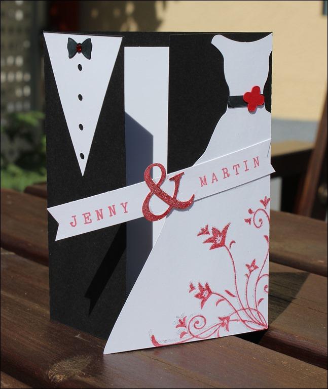 Hochzeitskarte Brautkleid Frack 00