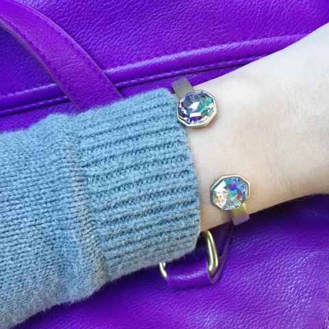 mom style, loren hope cuff, pop of purple
