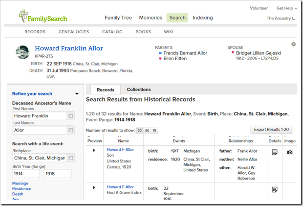 Search results for Howard Franklin Allor, search initiated from FamilySearch Family Tree