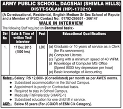 Army Public School Dagshai HP Vacancy 2015 indgovtjobs