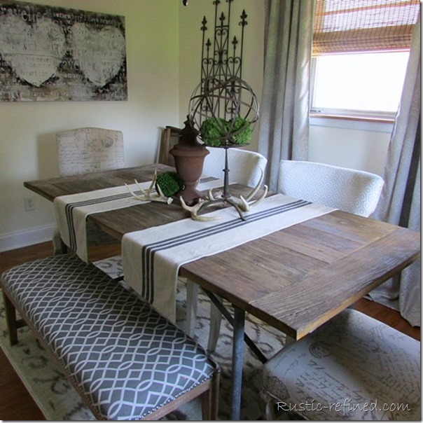 Barnwood Dining Table with brown and cream color scheme @ Rustic-refined.com