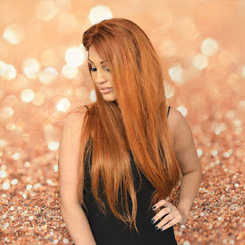 Model and glitter backdrop by Lisa Kirkwood - People Portraits of Women ( beautiful, pretty, woman, backgrounds, model, glitter, portrait )