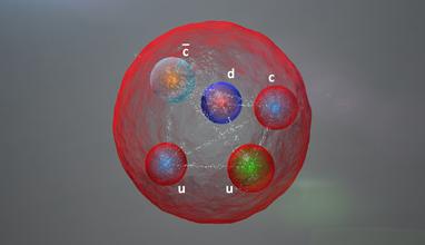 ilustração de uma partícula pentaquark