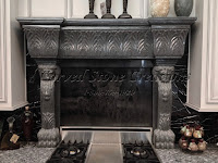 Lion Bases Fire Place Charcoal Grey Granite