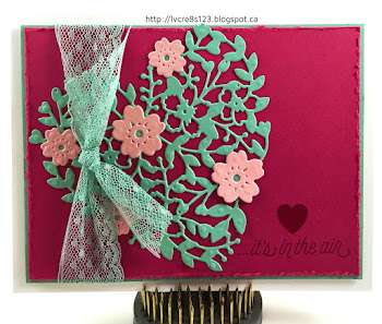 Linda Vich Creates: The Sky Really Is The Limit! Mint Macaron Bloomin' Heart die cut with Blushing Bride flowers dresses up a distressed Rose Red matte in this delightful Valentine card.